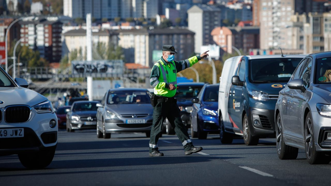 Control en la avenida de Alfonso Molina, en A Coruña
