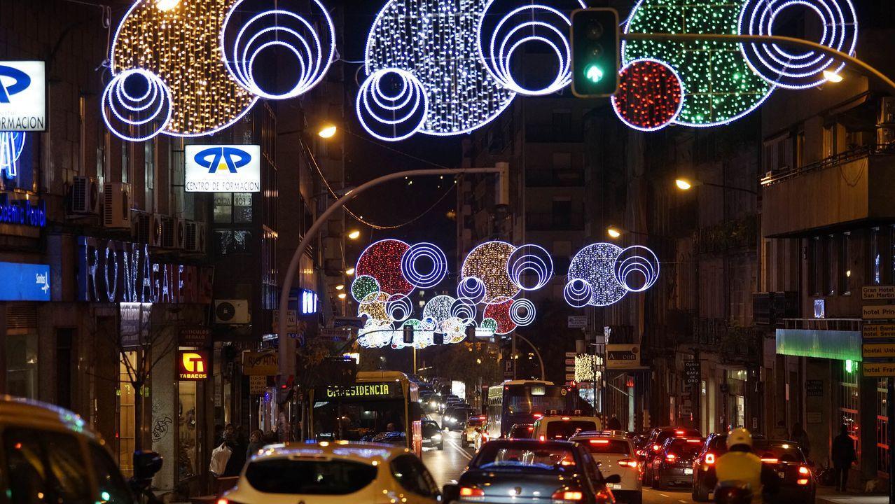 La nieve llegará a la Alameda de Vigo por Navidad.Luces de Navidad en Vigo, el año pasado