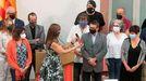 La presidenta del Parlamento catalán, Laura Borràs, hace entrega de la medalla de honor en la categoría de oro a las «víctimas de la represión y a los colectivos jurídicos que las defienden», en vísperas de la Diada