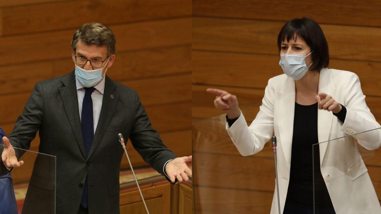 Alberto Núñez Feijoo y Ana Pontón, en el Parlamento de Galicia