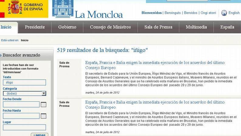 La web de La Moncloa colgó la nota pero luego la borró