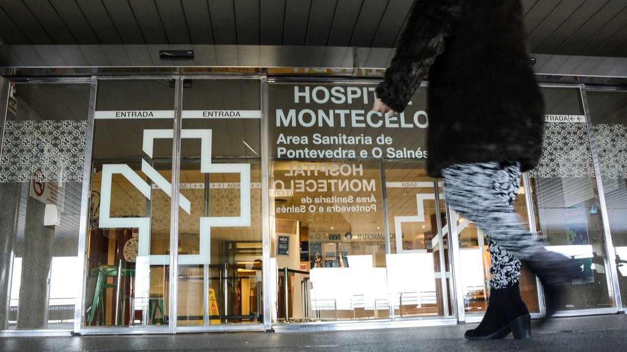 Entrada principal del hospital Montecelo, en Pontevedra