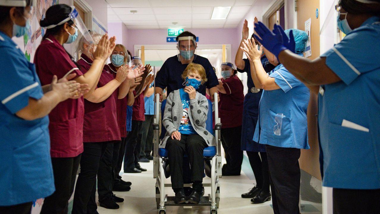 Margaret Keenan, el pasado 8 de diciembre tras haber recibido la primera de las dos dosis de la vacuna