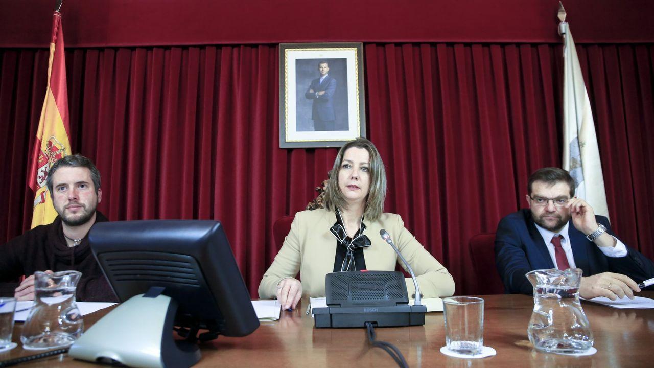 Imagen de un pleno municipal con la alcaldesa Lara Méndez