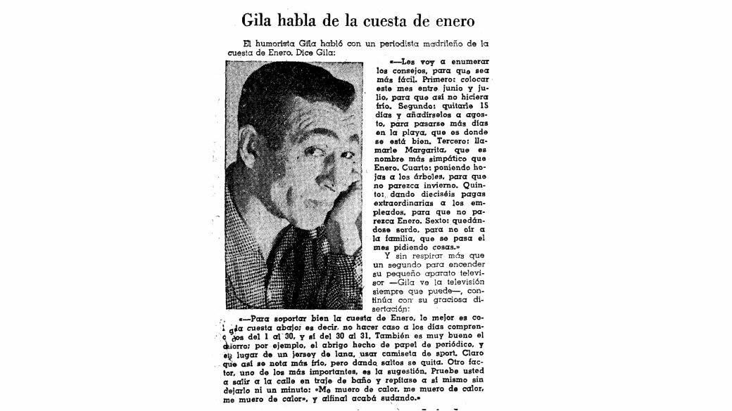 Gila hablaba de la cuesta de enero en La Voz de Galicia el 13 de enero de 1962