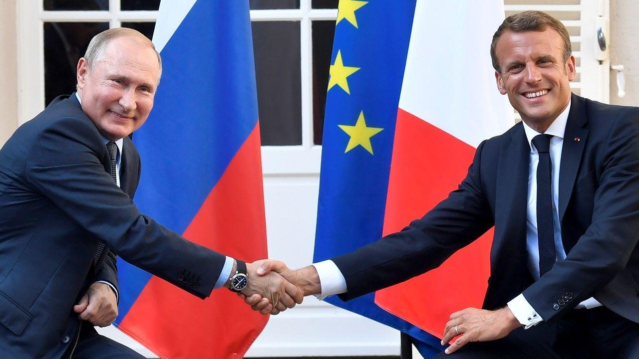 El presidente ruso, Vladimir Putin, y el francés Emmanuel Macron, en el sur de Francia