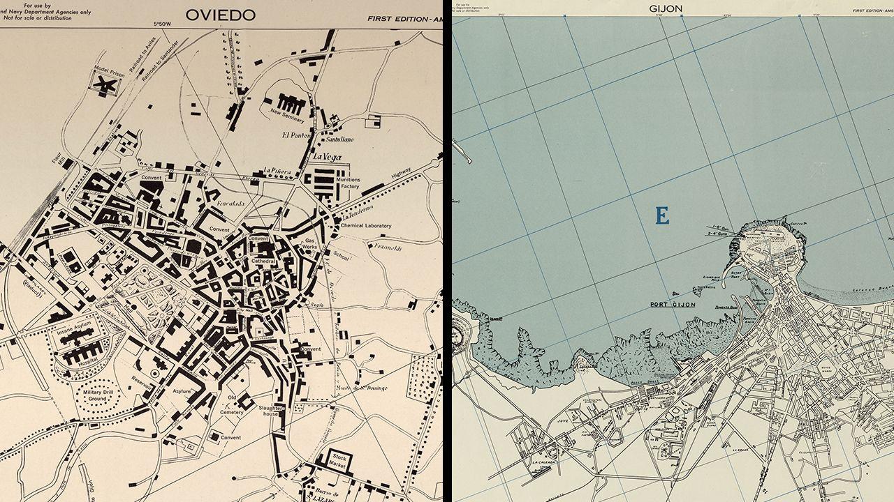 Mapas de Oviedo y Gijón en la Segunda Guerra Mundial