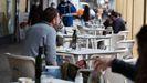 Terraza de un bar de Badajoz, el pasado 12 de febrero, primer día de reapertura de la hostelería