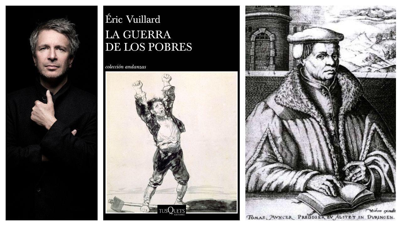 El escritor Éric Vuillard, la portada de su nueva novela y el retrato del protagonista, Thomas Müntzer