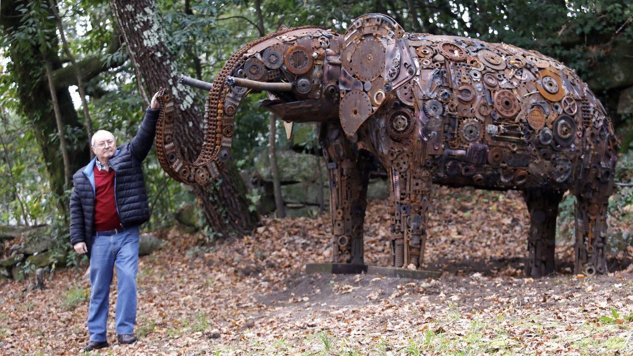 Así se hace una escultura gigante de trozos de chatarra.Comida en Cáritas