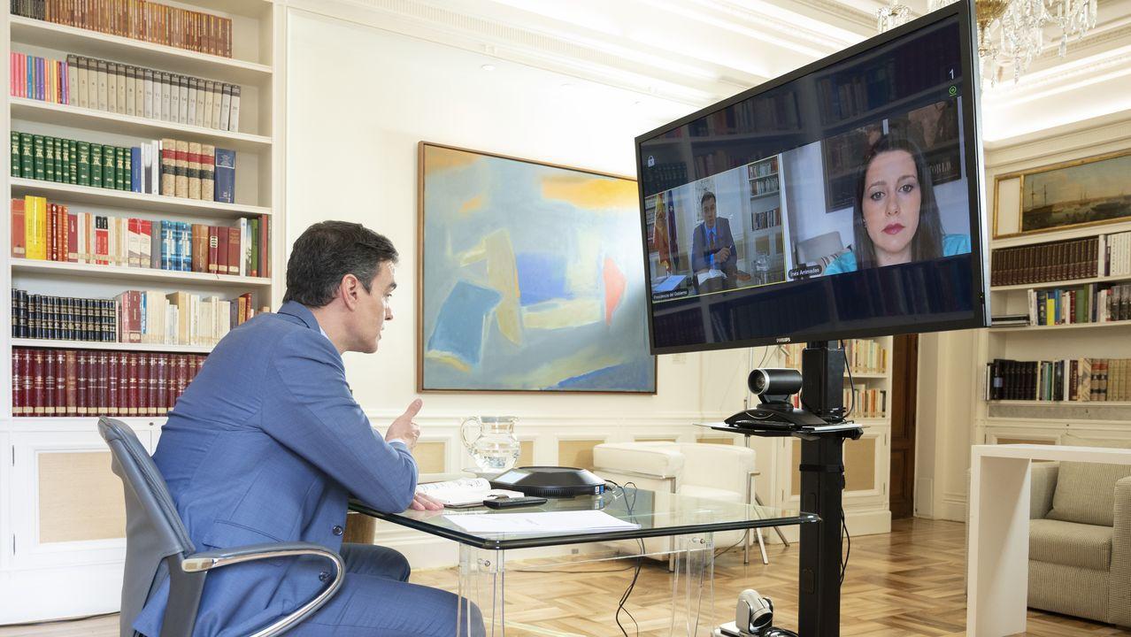 Sánchez, durante una videoconferencia con  la líder de Ciudadanos, Inés Arrimadas
