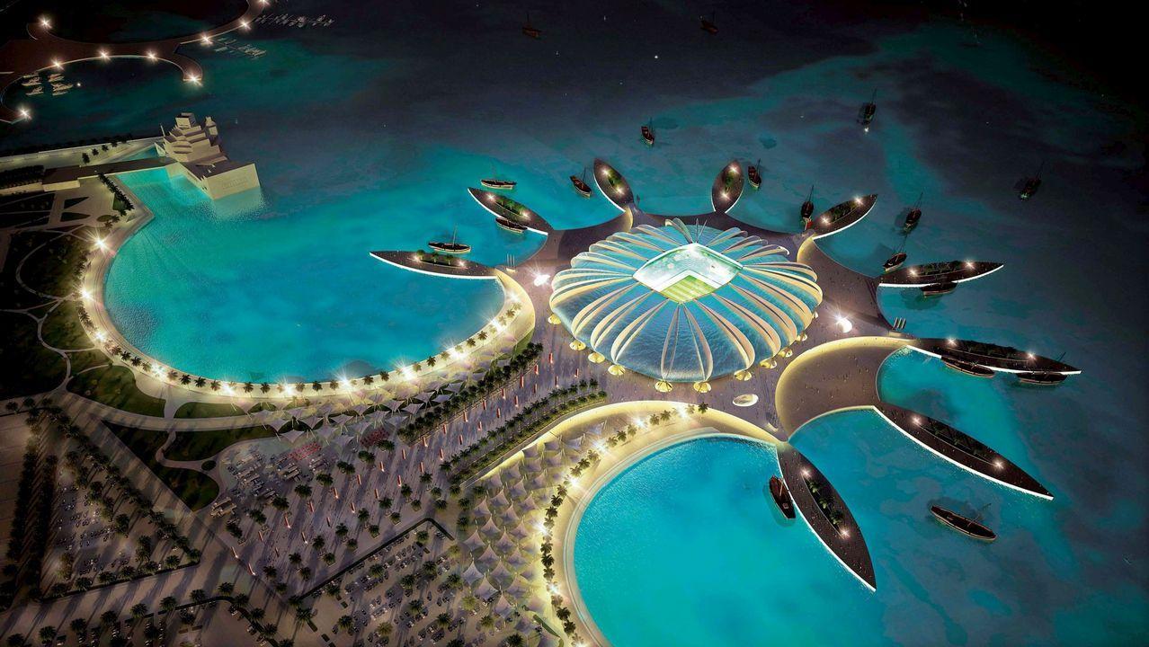 Imagen 3D creada por ordenador facilitada por el Comité de organización del Mundial de fútbol Qatar 2022 hoy, lunes, 6 de diciembre de 2010, que muestra la propuesta del que será el estadio Doha Port, en Doha, una de las sedes del Mundial de fútbol Qatar 2022. El Doha Port tendrá capacidad para 44.950 personas.