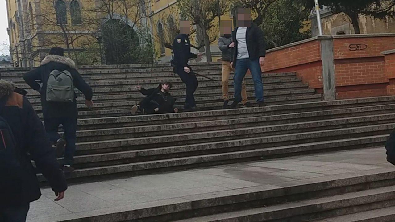 Cuatro escenas del altercado del campus de El Milán