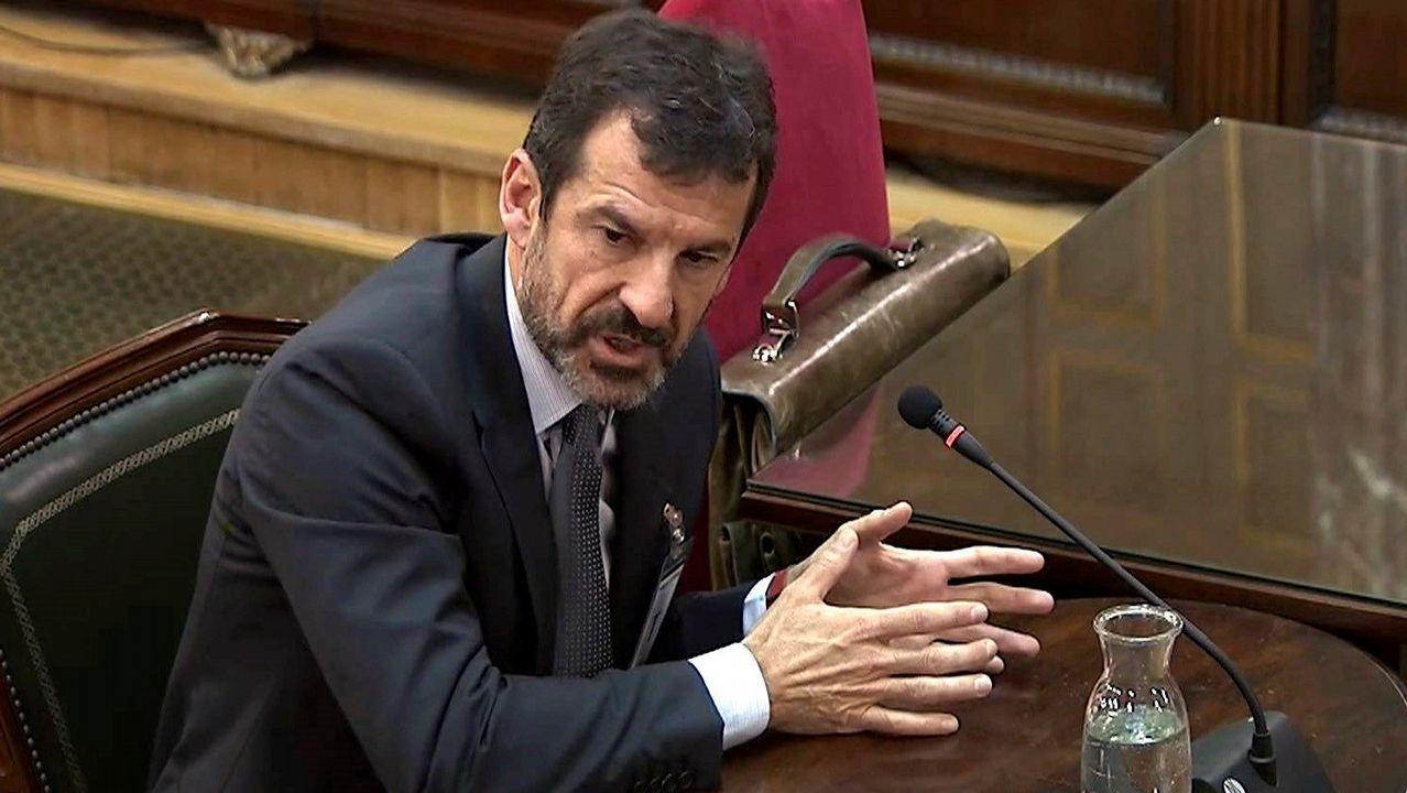 El comisario de los Mossos Ferran López, durante su declaración en el Tribunal Supremo por el juicio del desafío independentista