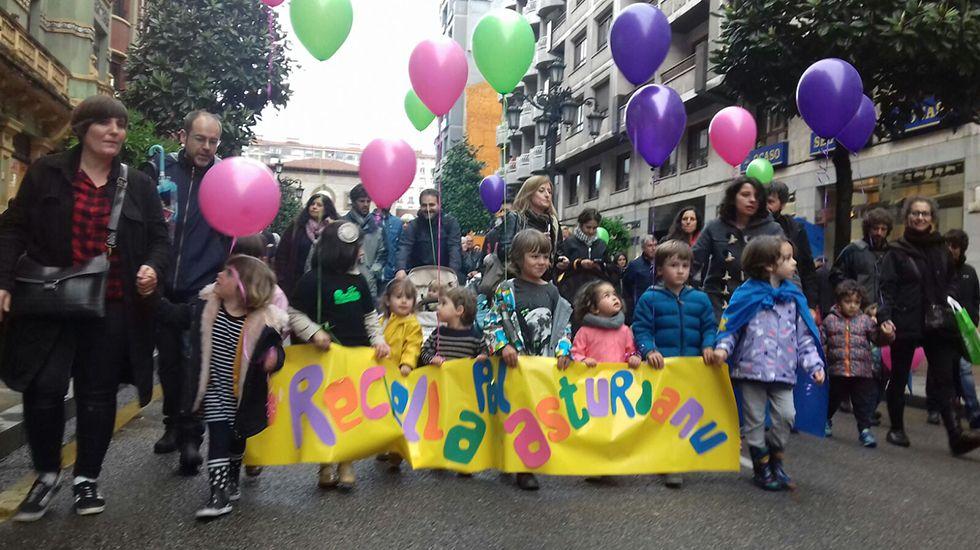 Manifestación pola oficialidá del asturianu.Visitantes en la Semana Negra de Gijón