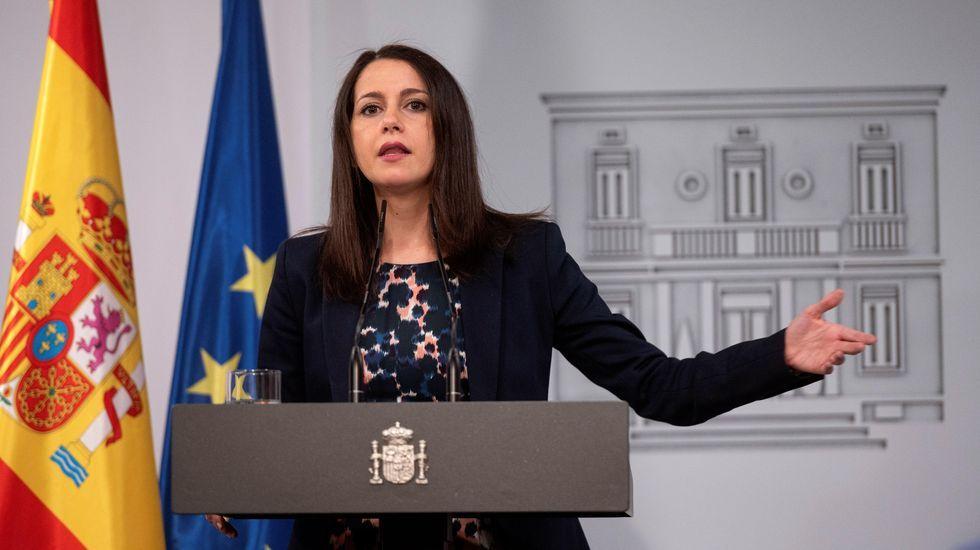 Inés Arrimadas, este miércoles tras su reunion con Pedro Sánchez