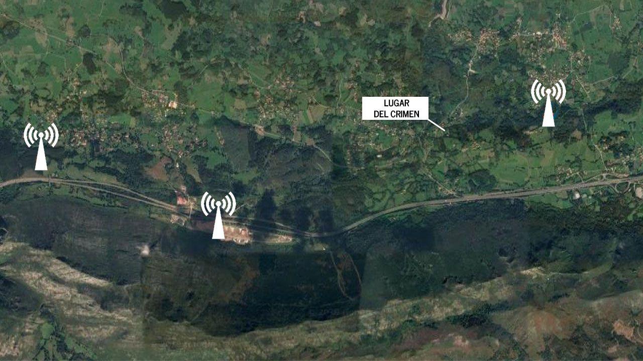 Las antenas de telefonía móvil más cercanas al lugar del crimen, en Belmonte de Pría