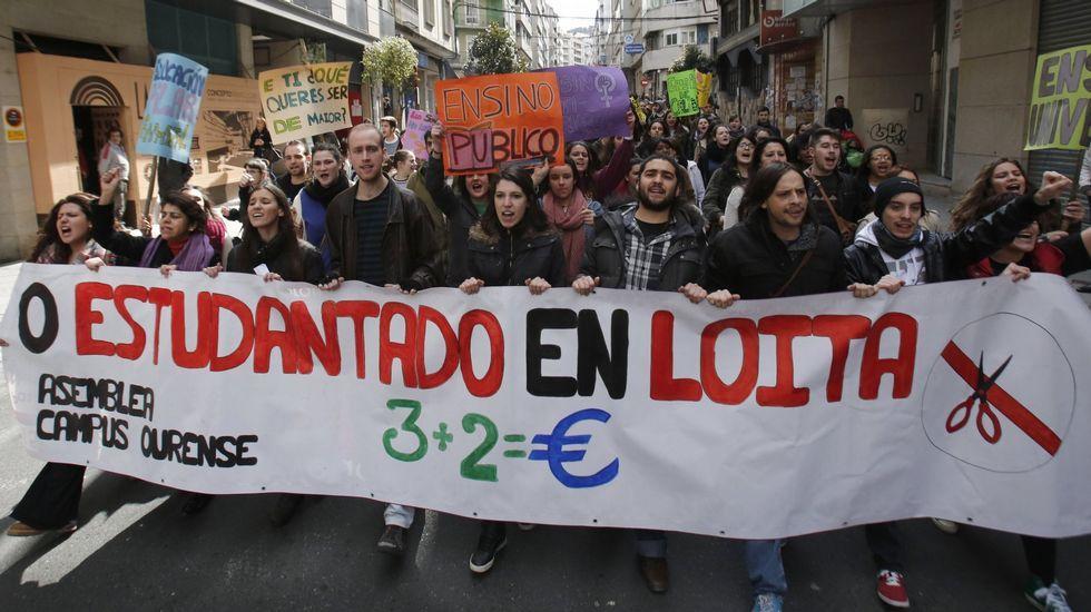 Protesta de estudiantes en Ourense el pasado mes de marzo