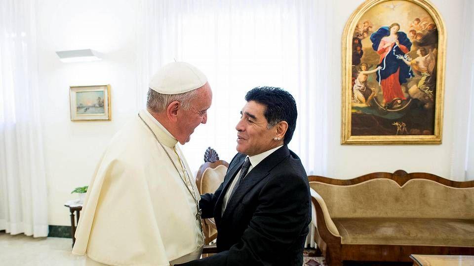 La pasión de Lucas Pérez.Maradona, con el papa la semana pasada
