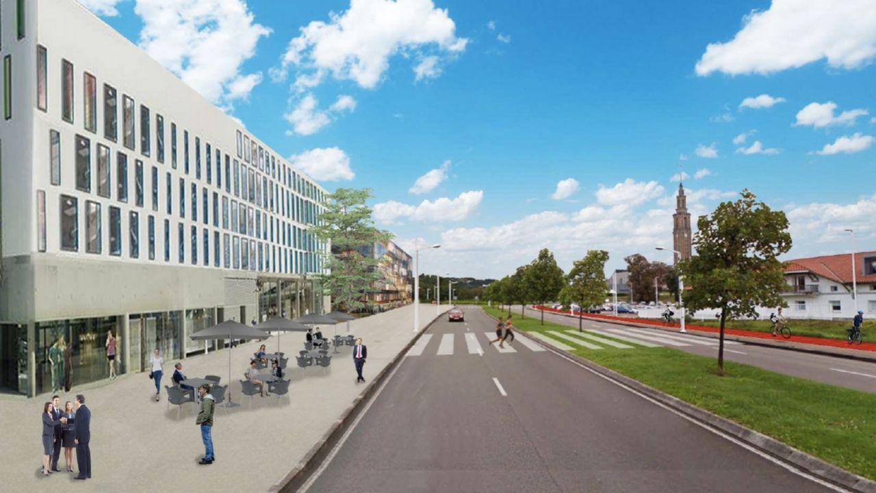 Recreación de la fachada del parque científico a la avenida de la Pecuaria
