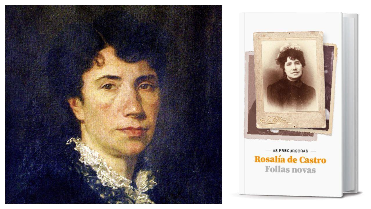 sellier.Detalle dun retrato de Rosalía realizado polo pintor Modesto Brocos; á dereita, exemplar da edición de «Follas novas» que ofrece La Voz este domingo