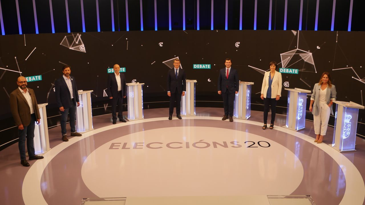 Los candidatos en el debate electoral a siete de la TVG