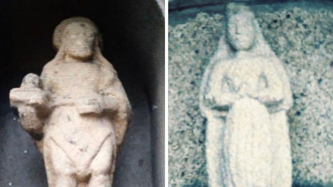 A la izquierda el San Juan Bautista recientemente desaparecido y a la derecha la Virgen de la Concepción que falta desde hace una década
