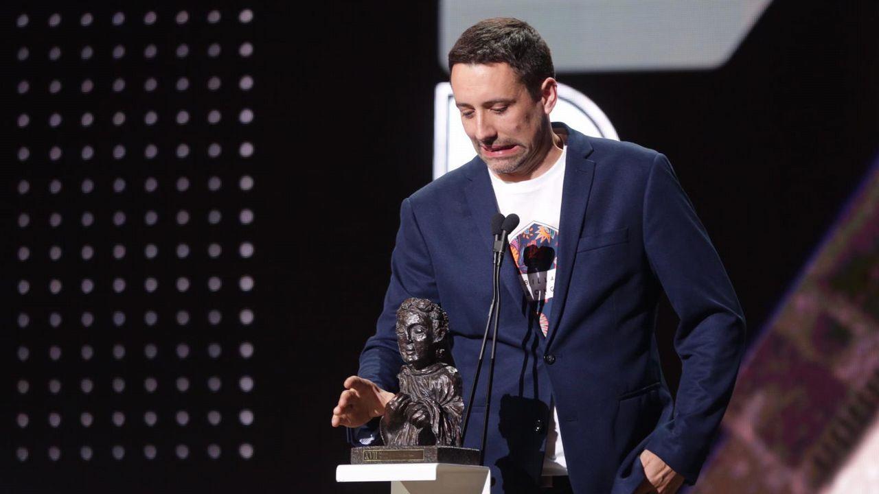 David Machado, na imaxe, James Muñoz e José Antonio Manovel leváronse o premio a mellor son, por «A sombra da lei»