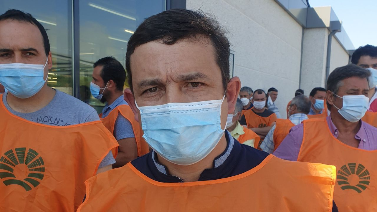 Antonio Fernández, durante la protesta de ayer en Lugo