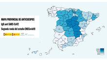 Porcentaje de afectados por coronavirus en España según la segunda oleada del estudio de seroprevalencia