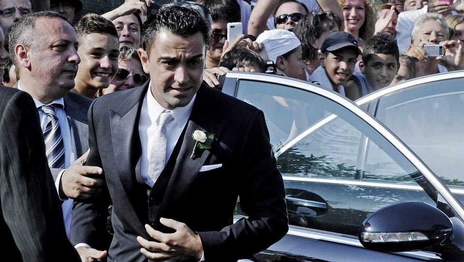 Los jugadores del Barça acompañaron a Xavi el día de su boda