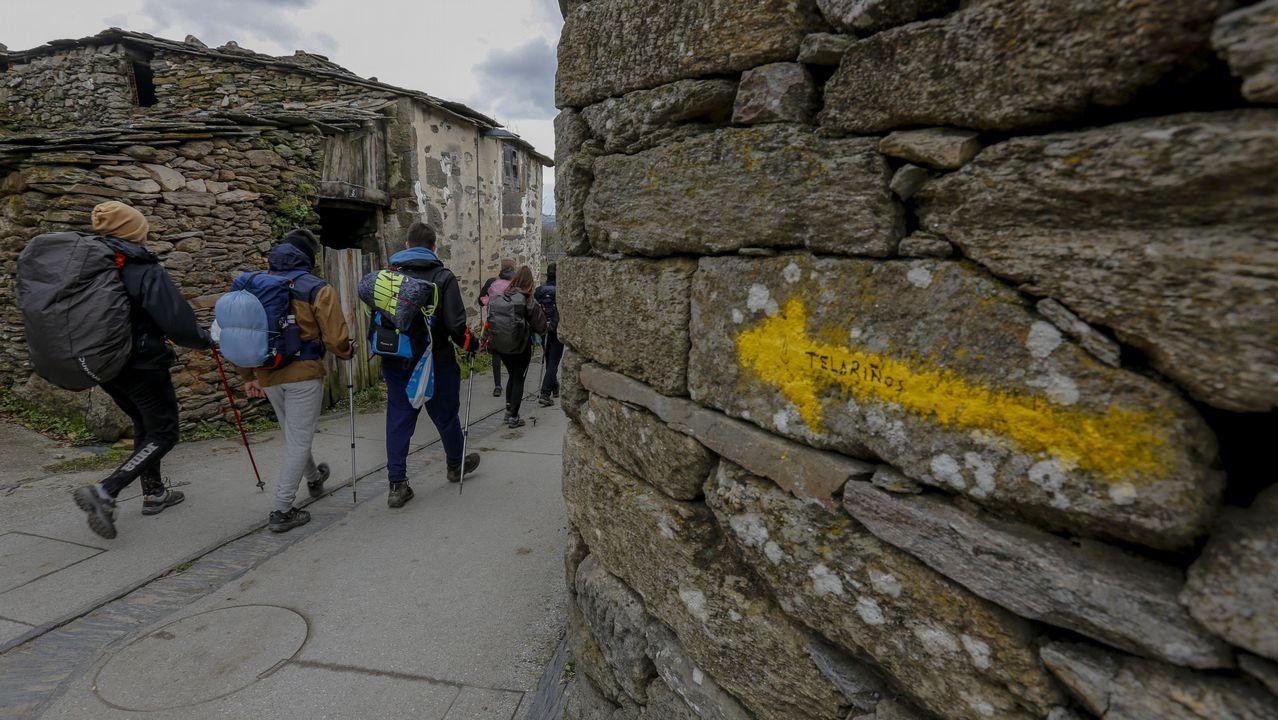 Flecha del camino en una casa de la aldea de A Parrocha