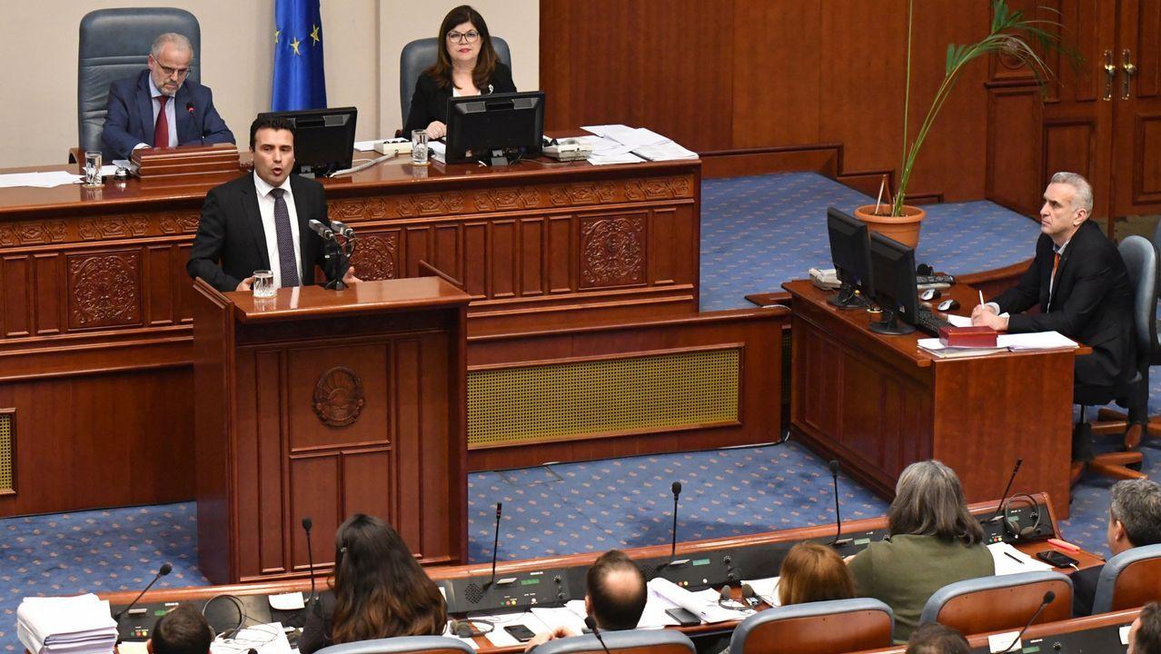 Zoran Zaev.El presidente de Macedonia del Norte, Zoran Zaev, en una sesión parlamentaria