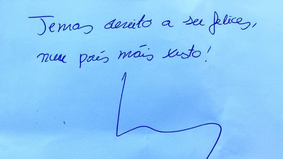 «Temos dereito a ser felices nun país máis xusto», deixou escrito para os lectores de La Voz.