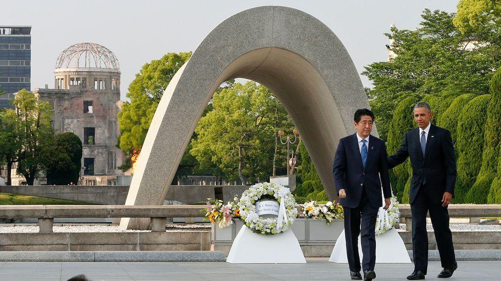 Así reaccionó el mundo al triunfo de Trump.Obama, ante el monumento en recuerdo de las víctimas de Hiroshima