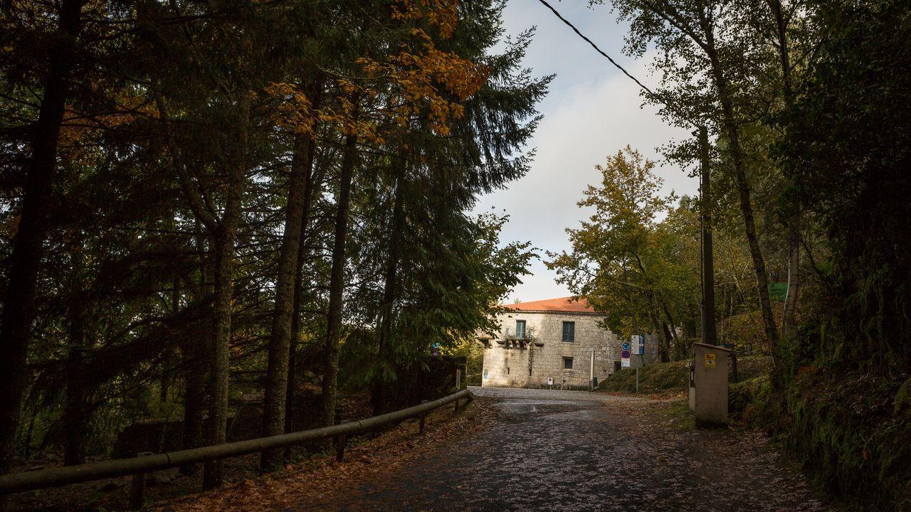Estado del puente de madera sobre el Barbaña.Acceso al monasterio de San Pedro de Rocas, en el concello ourensano de Esgos