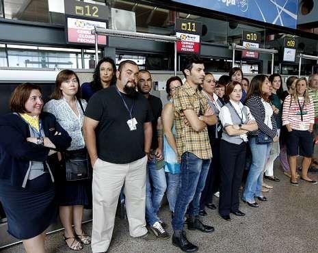 Los trabajadores que no se encontraban de servicio, se concentraron en la terminal.