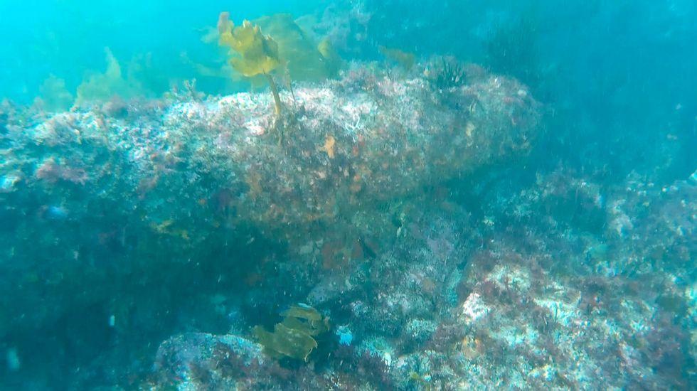 Uno de los cañones encontrados en Punta do Segaño