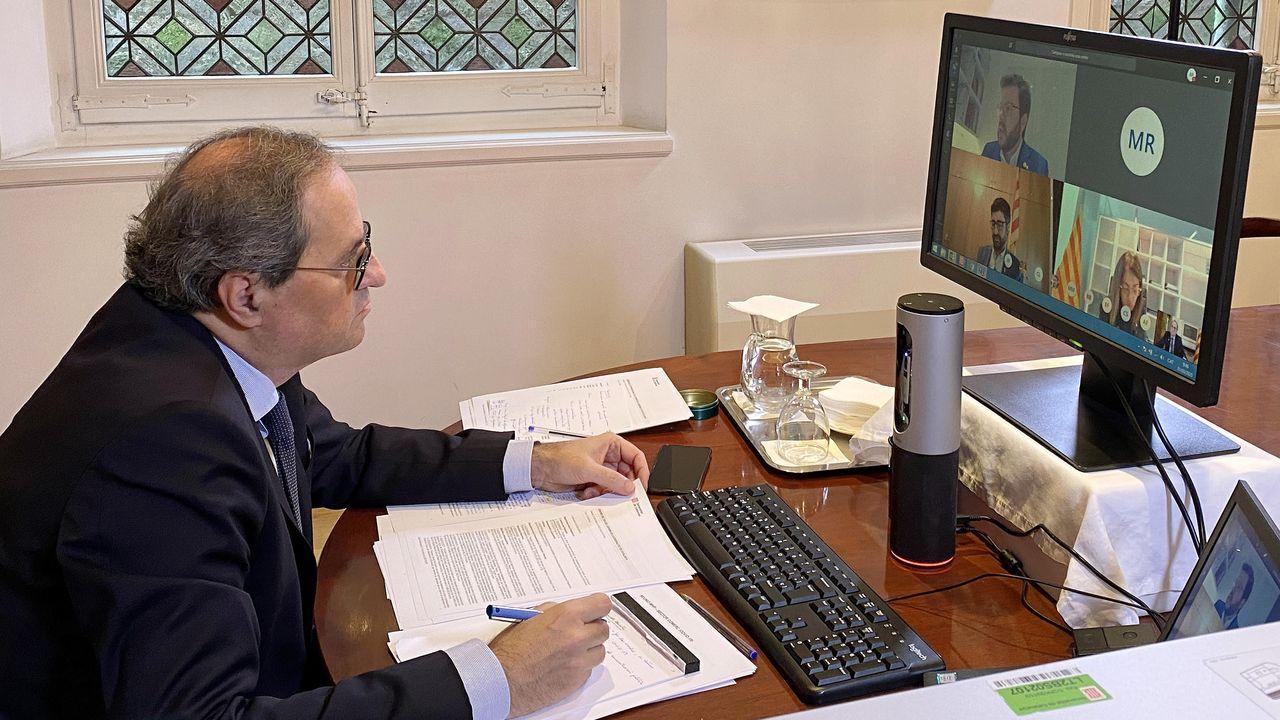 El presidente del Govern, Quim Torra, preside el Consell Executiu de forma telemática