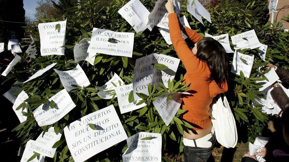 Imagen de archivo de una concentración a favor de los conciertos educativos en Galicia