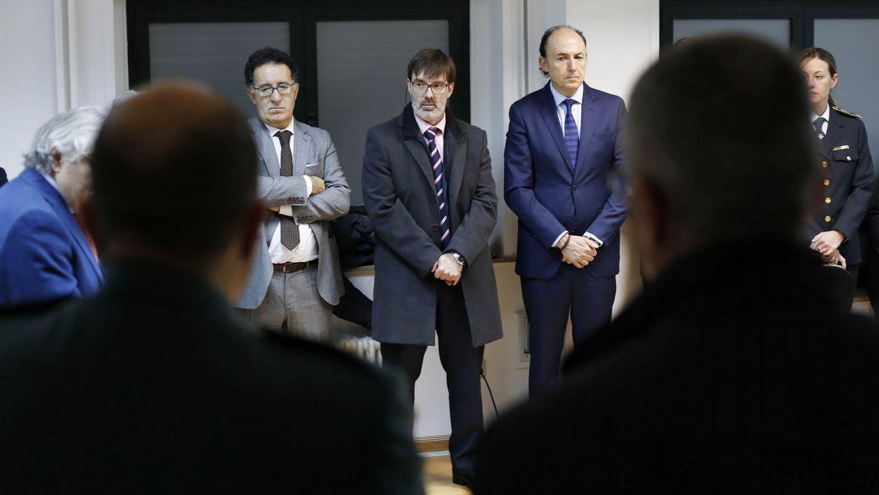 El presidente de la Audiencia, Antonio Piña; el juez decano, Leonardo Álvarez, y el fiscal jefe, Florentino Delgado acudieron a la inauguración