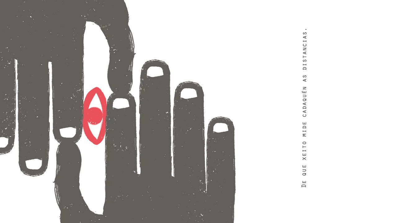 Detalle dun dos poemas visuais de Marcos Viso e Tamara Andrés do libro «Distancias»