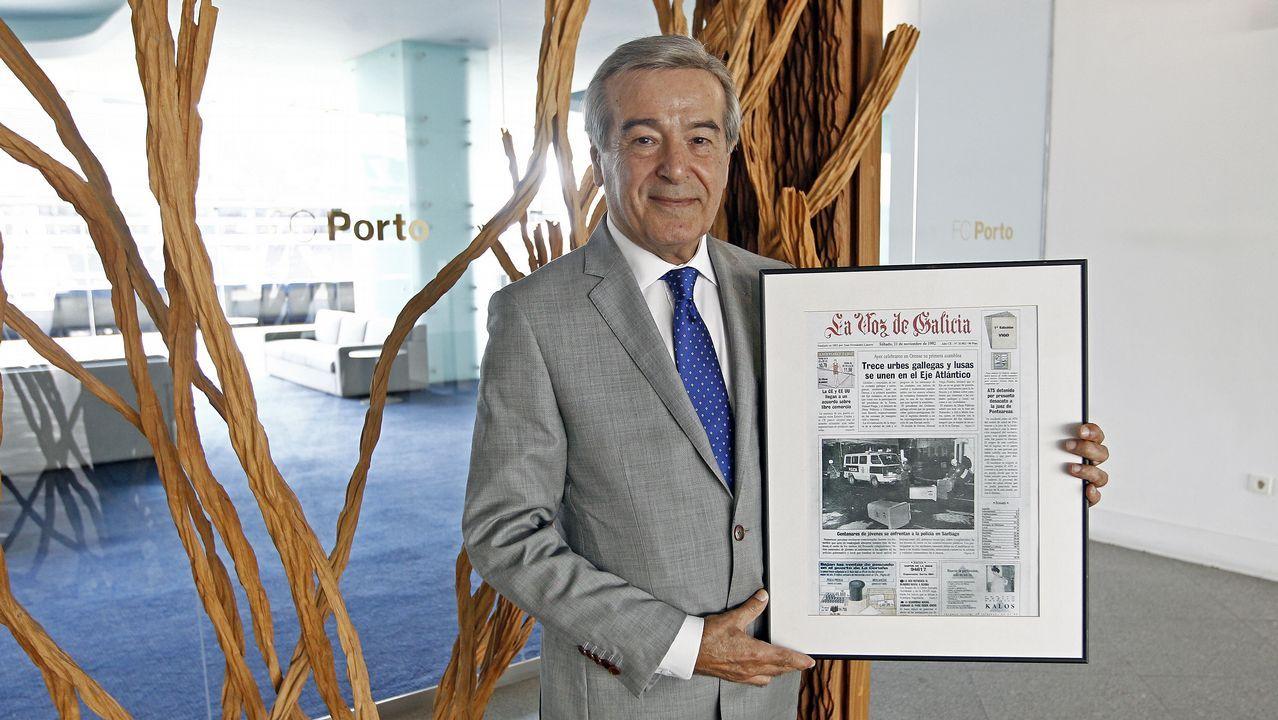 «El Eixo Atlántico ayudó a eliminar las cicatrices de la historia y de la frontera».De izquierda a derecha, Antonio Guterres, Mário Centeno y Vítor Constâncio