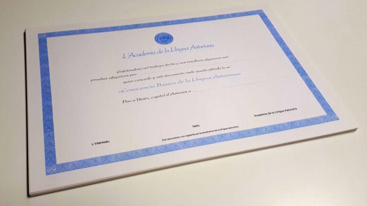 Certificado de conocencia de la Academia de la Llingua Asturiana