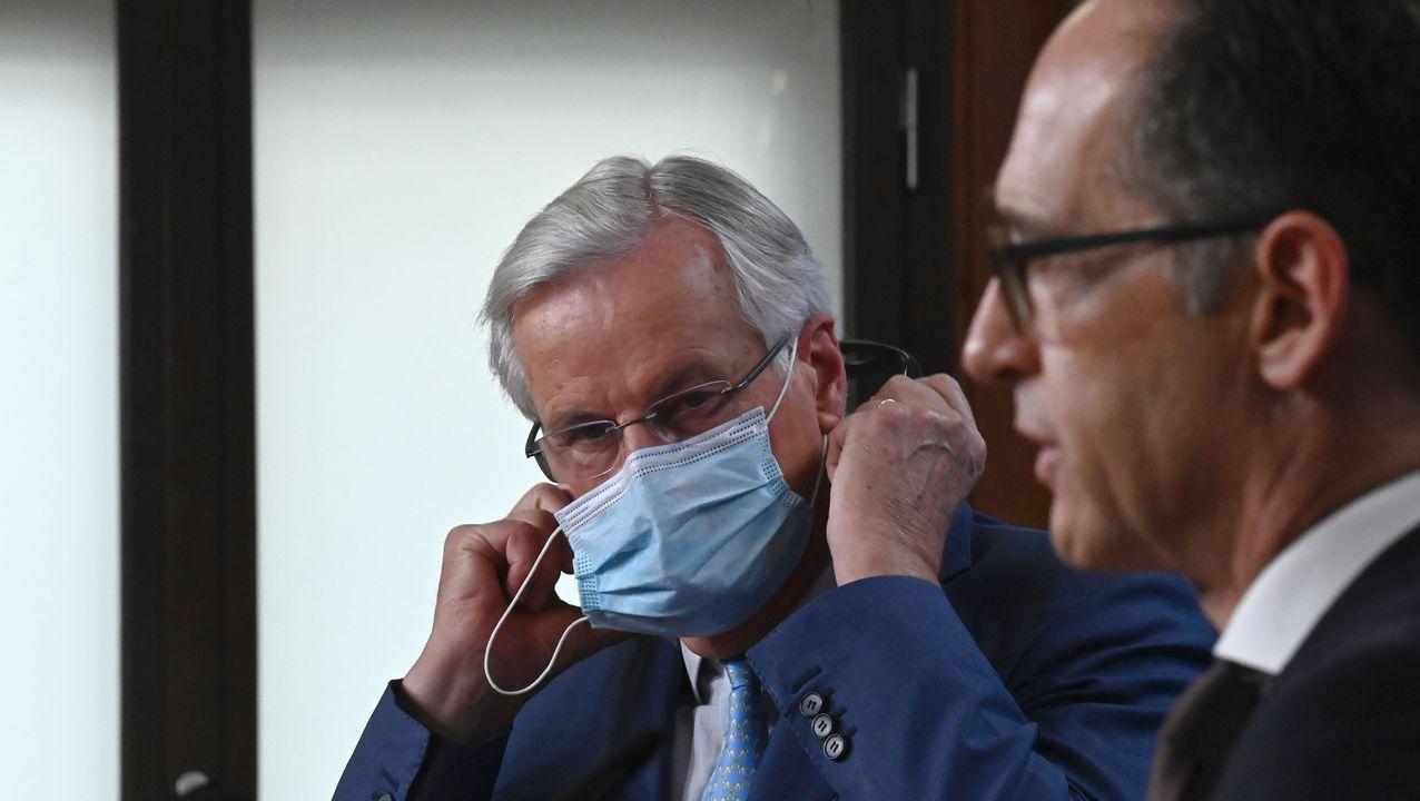 Michel Barnier y Heiko Maas, durante su comparecencia en Berlín