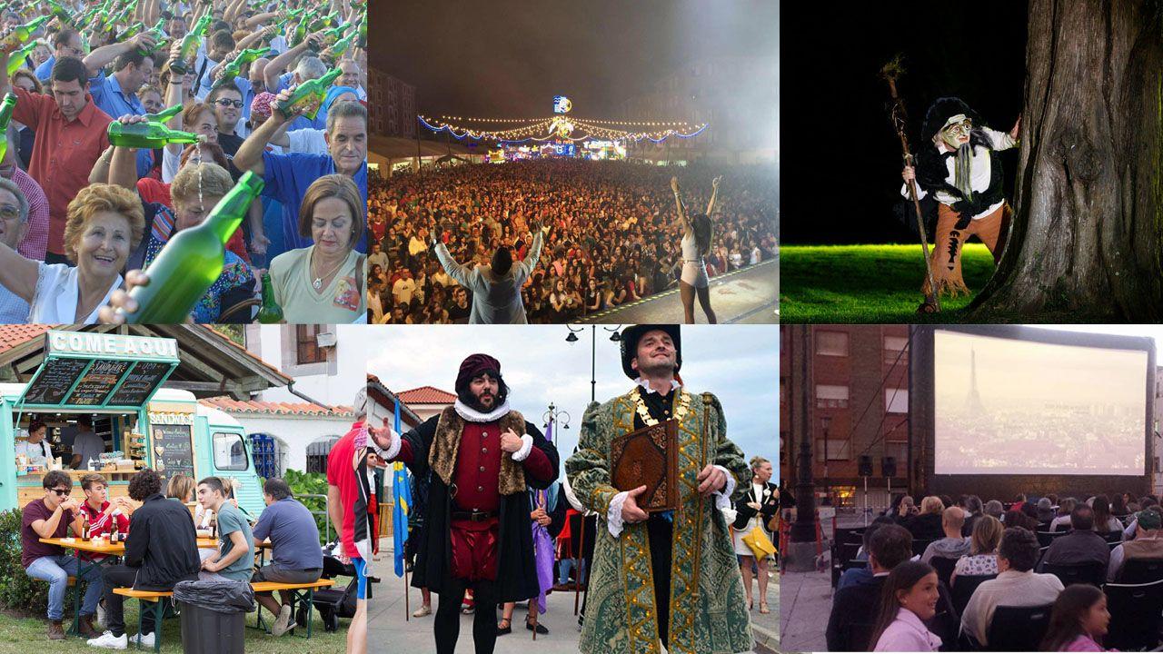 Collage actividades asturias verano desembarco tazones foodtruck fartukarte festival de la sidra cine de verano noches mágicas del botánico.La Escola Municipal de Música actuará esta tarde