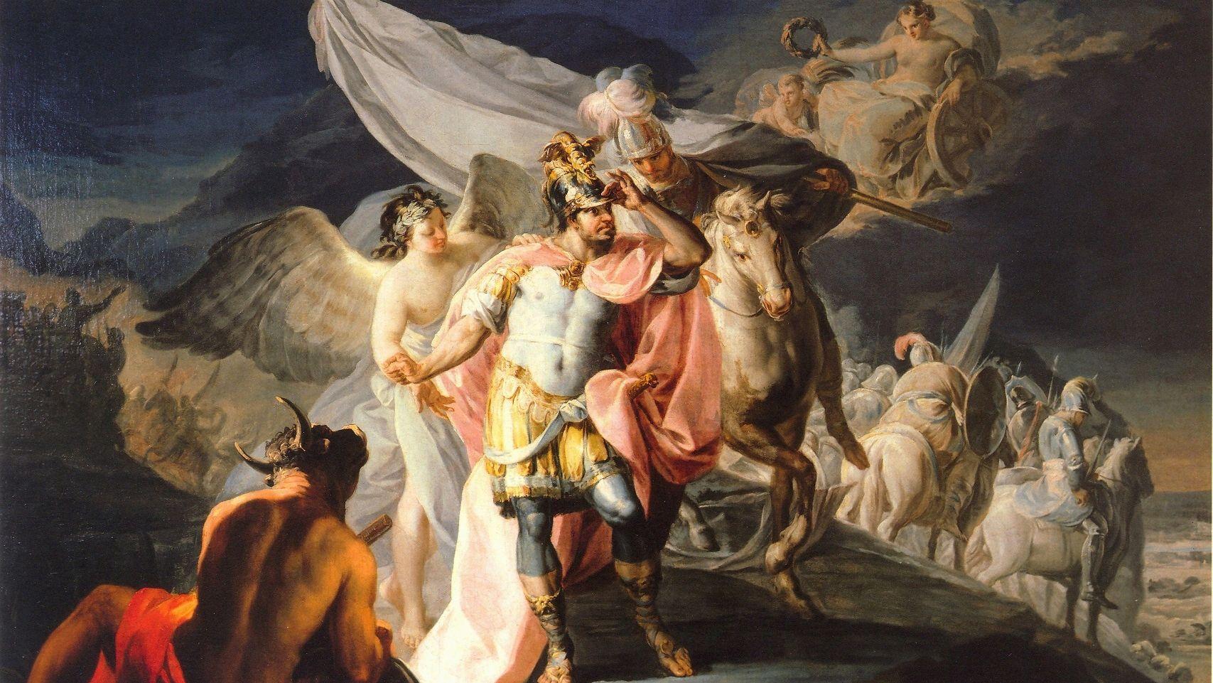 Aníbal vencedor contempla por primera vez Italia desde los Alpes (detalle) de Goya.