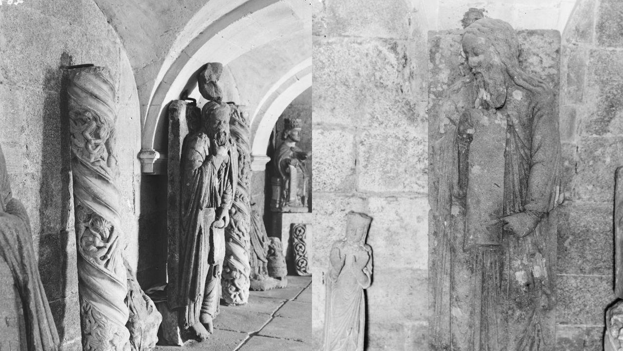 Las esculturas de Elías (izquierda) y Enoc, fotografiadas por Manuel Gómez-Moreno en 1931 en el Museo Diocesano de Santiago y hoy en el de Pontevedra