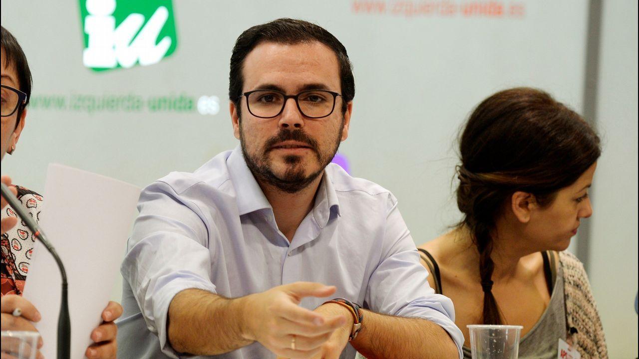 Alberto Garzón, expone ante la Asamblea Político y Social (APS) de su organización las condiciones que recogerá el acuerdo con Podemos para concurrir en coalición a las elecciones
