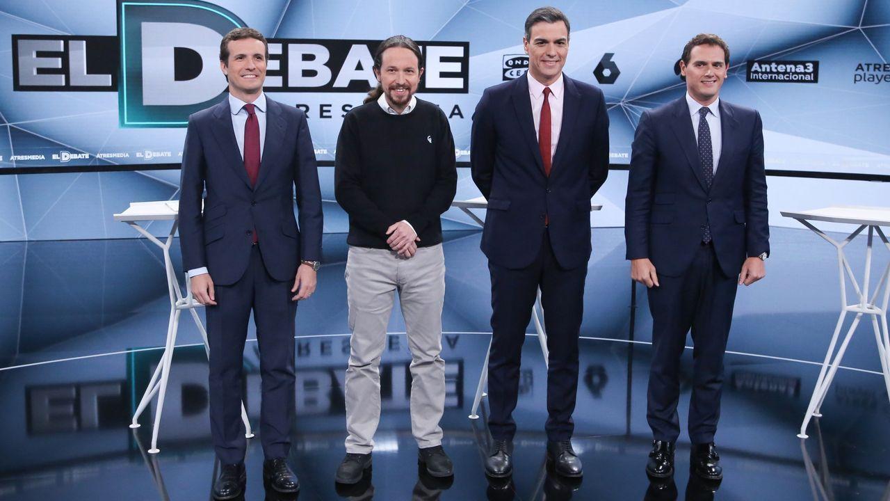 Pablo Casado, Pablo Iglesias, Pedro Sánchez y Albert Rivera, antes de uno de los debates del 28A